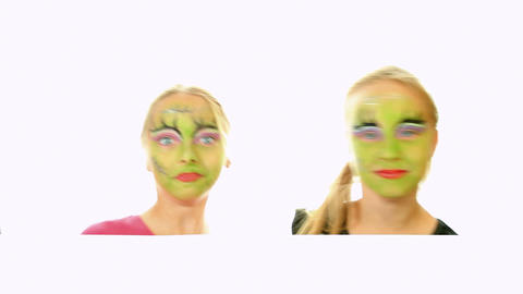 Scary little green girls for Halloween Stock Video Footage