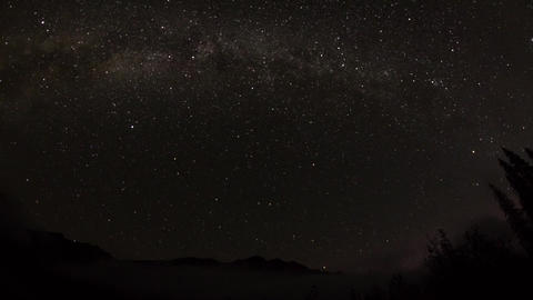 Fish eye view of cloudy night sky with milky way Footage