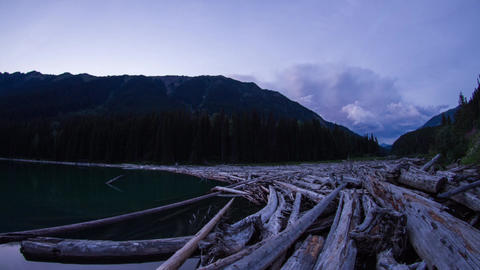 Twilight clouds at Duffey lake by the wood pile Footage