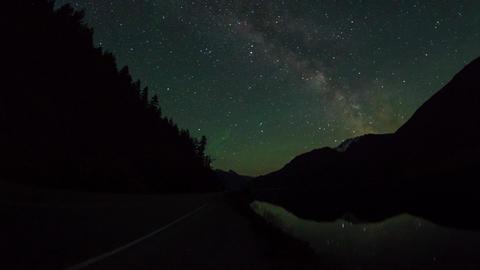 Night sky milky way above lillooet lake Stock Video Footage