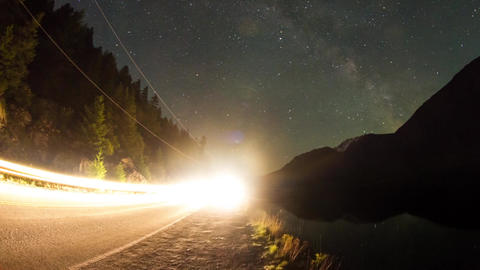 Night sky milky way above lillooet lake Footage