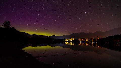 Aurora Borealis (northern lights) night sky Footage