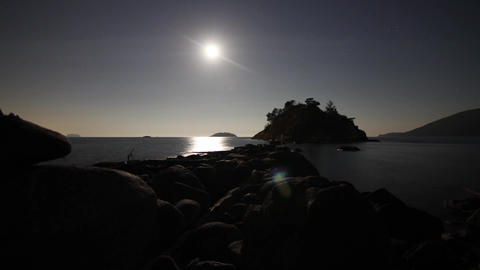 Night sky moon rising at Whytcliff Stock Video Footage