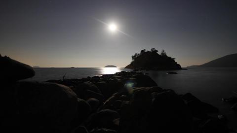 Night sky moon rising at Whytcliff Footage