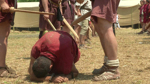 legionary punishment 02 Stock Video Footage