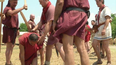 legionary punishment 02 Stock Video Footage