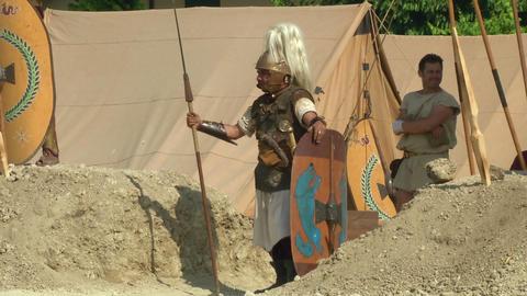 roman camp legionary 01 Stock Video Footage