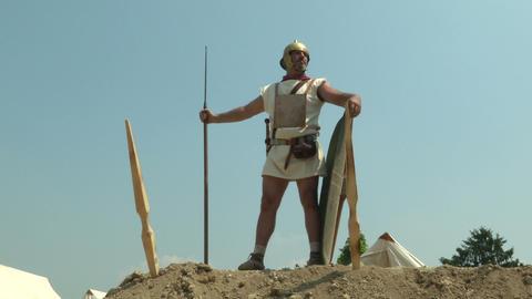 roman camp legionary 03 Stock Video Footage