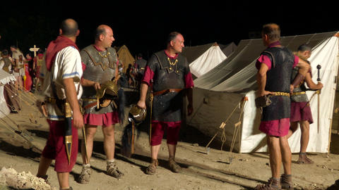 roman camp night 02 Stock Video Footage