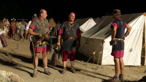roman camp night 02 Footage