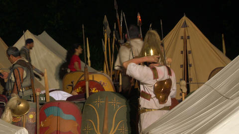 roman camp night 04 Stock Video Footage