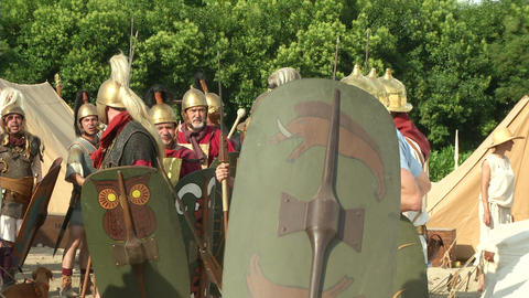 roman legion camp 02 Stock Video Footage