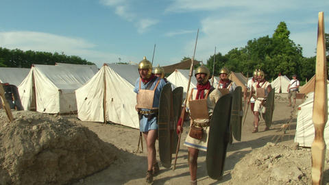roman legion marching 02 Stock Video Footage