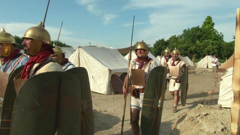 roman legion marching 02 Stock Video Footage