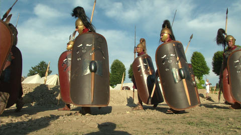 roman legion marching 04 Stock Video Footage