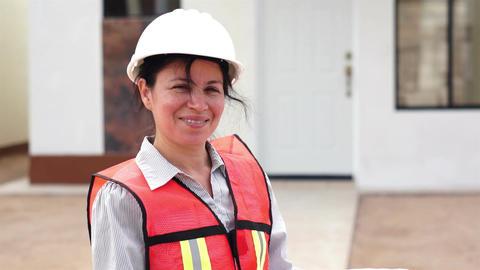 Hispanic Female Foreman Smiling Stock Video Footage