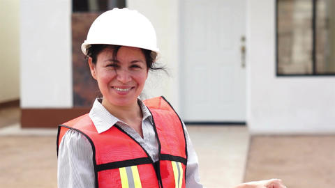 Hispanic Female Foreman Smiling stock footage