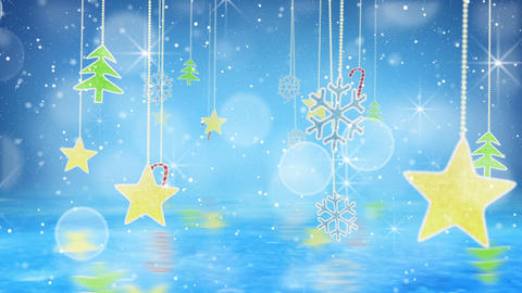 christmas hanging decorations loopable flying Stock Video Footage