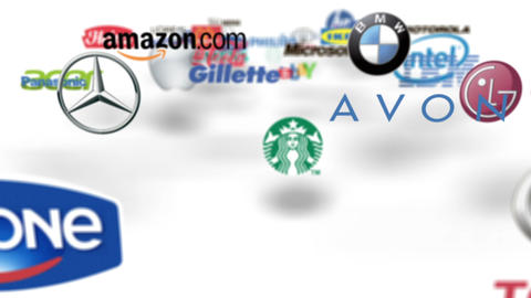 Flying through famous trademarks logo loop Stock Video Footage
