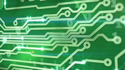 green circuit board providing signals 3d animation Stock Video Footage