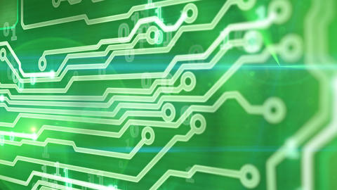 green circuit board providing signals 3d animation Animation