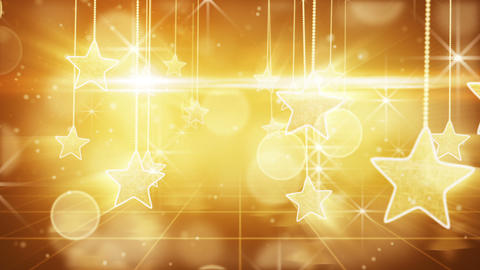 flying past by gold hanging stars loopable Stock Video Footage