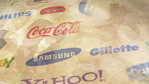 Famous trademarks logo on old paper loop Stock Video Footage