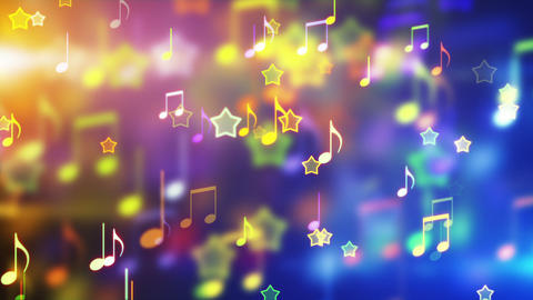 shiny notes and stars looping party background Stock Video Footage