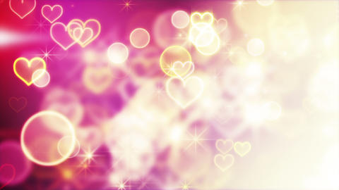 shiny hearts and bokeh lights loop background Animation