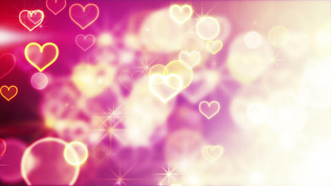 shiny hearts and bokeh lights loop background Stock Video Footage