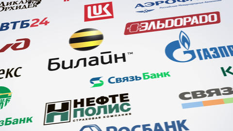 Russian trademarks logotypes panning loop Animation