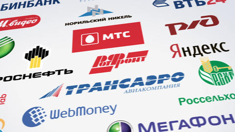 Russian trademarks logotypes panning loop Stock Video Footage
