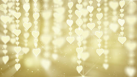 dangling gold hearts loop Stock Video Footage