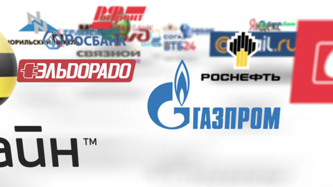 Flying through russian trademarks logo loop Stock Video Footage