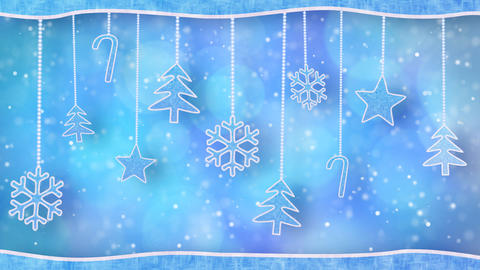 christmas hanging decorations loopable blue backgr Stock Video Footage
