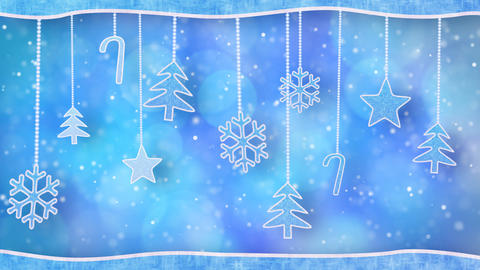 christmas hanging decorations loopable blue backgr Animation