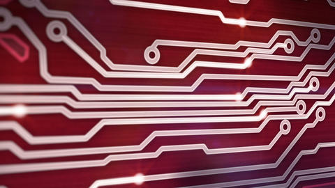 red circuit board providing signals 3d animation Stock Video Footage