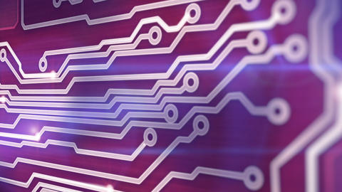red circuit board providing signals 3d animation Animation