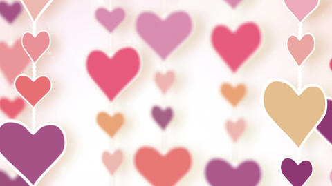 montage of dangling pink hearts Animation