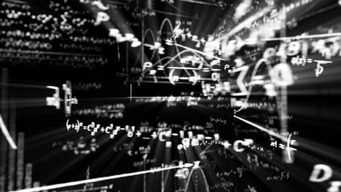 camera flight in maths world seamless loop Stock Video Footage