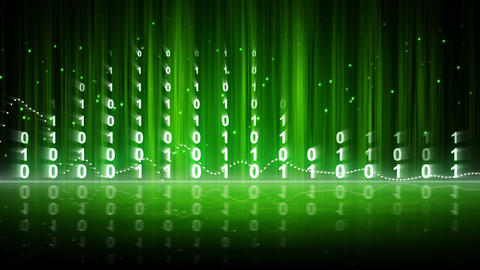 green digital data equalizer background loop Stock Video Footage