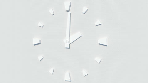 modern white wall-type clock timelapse animation Stock Video Footage