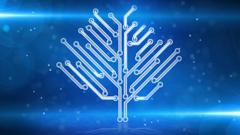 blue circuit board electronic hi-tech growing tree Stock Video Footage