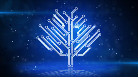 blue circuit board electronic hi-tech growing tree Animation
