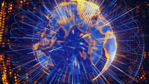 blue orange globe spinning loop Stock Video Footage