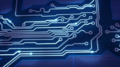 blue digital circuit board and signals pan loop Stock Video Footage