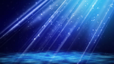 flying blue particles in light beams loop Stock Video Footage