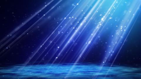 flying blue particles in light beams loop Stock Video Footage