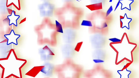 red blue stars and confetti montage Stock Video Footage