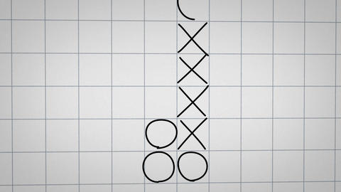 tick tack toe game on checked paper animation Stock Video Footage
